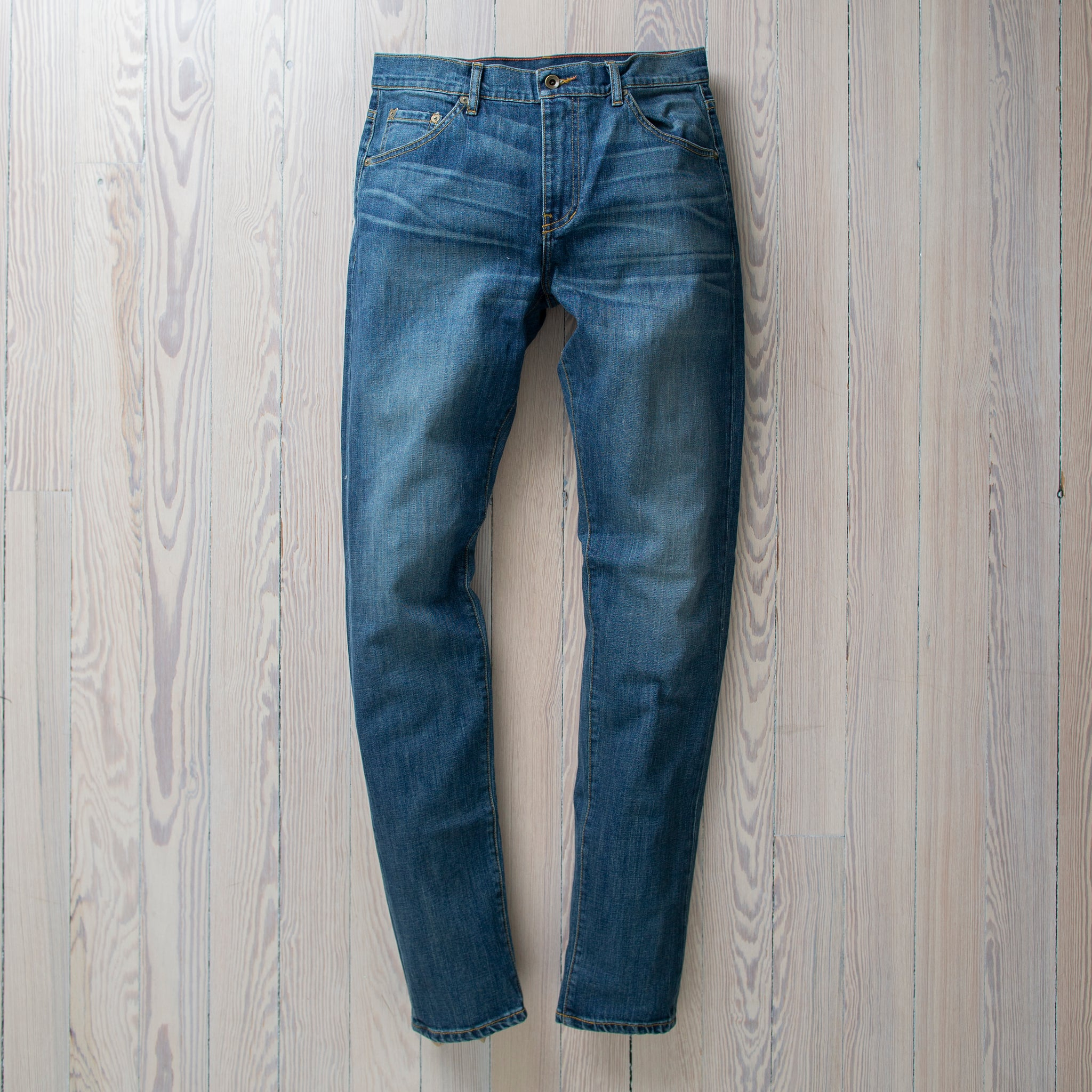 angle: pilot  Raleigh Denim Workshop Graham fit pants in blue, front flat view