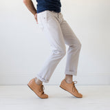 angle hover: cloud grey  Raleigh Denim Workshop men's Jones thin fit canvas pants in light gray cloud grey.
