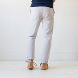 angle: cloud grey  Raleigh Denim Workshop men's Jones thin fit canvas pants in light gray cloud grey.