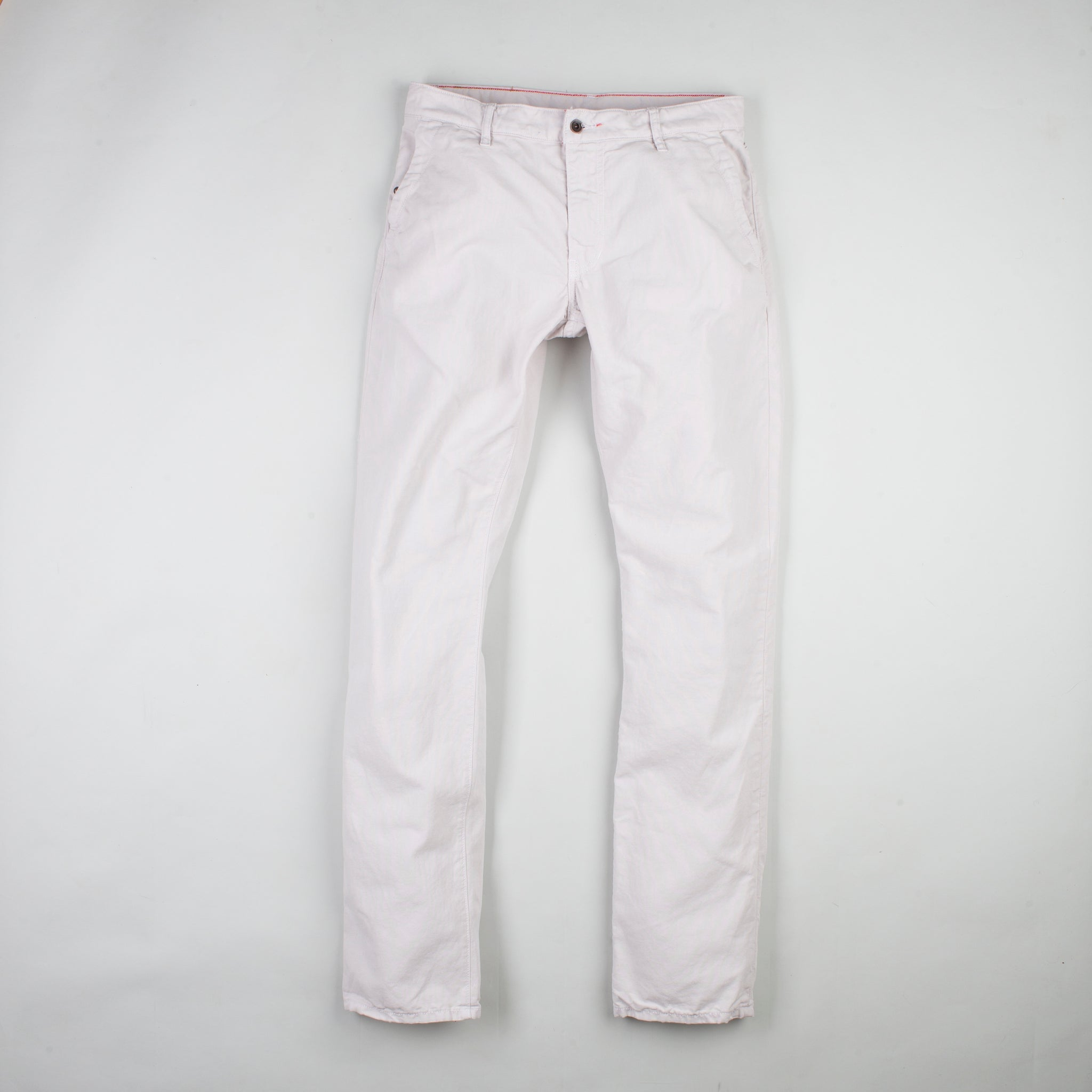 angle: cloud grey  Raleigh Denim Workshop men's Jones thin fit canvas pants in white/ light gray, front flat view