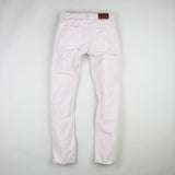 angle: cloud grey  Raleigh Denim Workshop men's Jones thin fit canvas pants in white/ light gray, back flat view