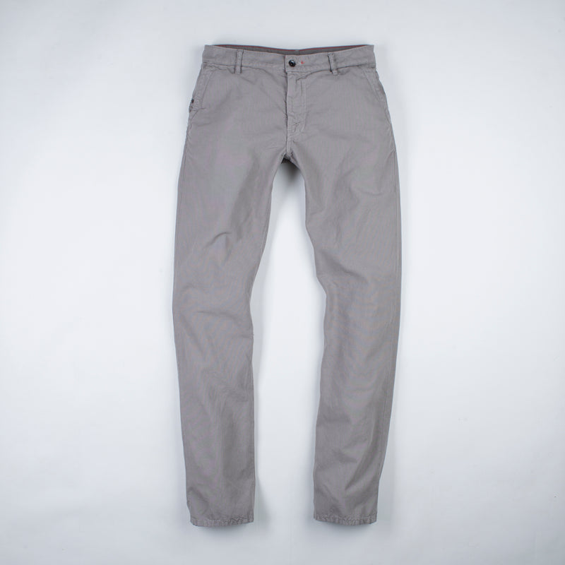 angle: pebble  Raleigh Denim Workshop men's Jones thin fit canvas pants in medium gray pebble, front flat view