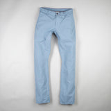 angle: water  Raleigh Denim Workshop men's Jones thin fit canvas pants in blue water, front flat view