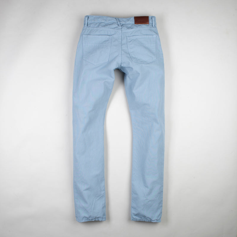 angle: water  Raleigh Denim Workshop men's Jones thin fit canvas pants in blue water, back flat view