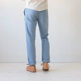 angle: water  Raleigh Denim Workshop men's Jones thin fit canvas pants in blue water.