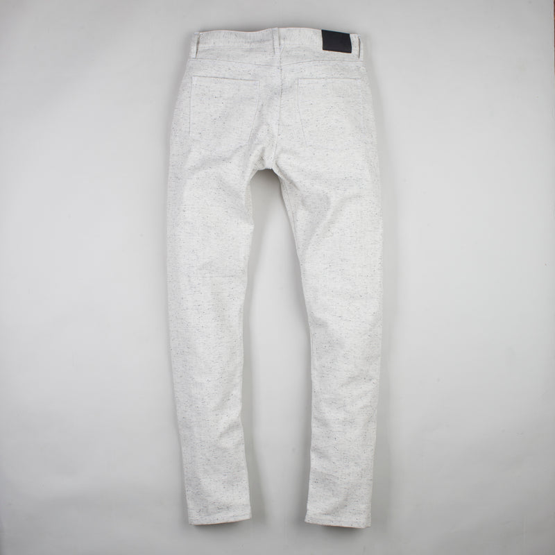 angle: natural heather  Raleigh Denim Workshop Graham work taper fit jeans in white, back flat view