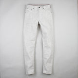 angle: natural heather  Raleigh Denim Workshop Graham work taper fit jeans in white, front flat view