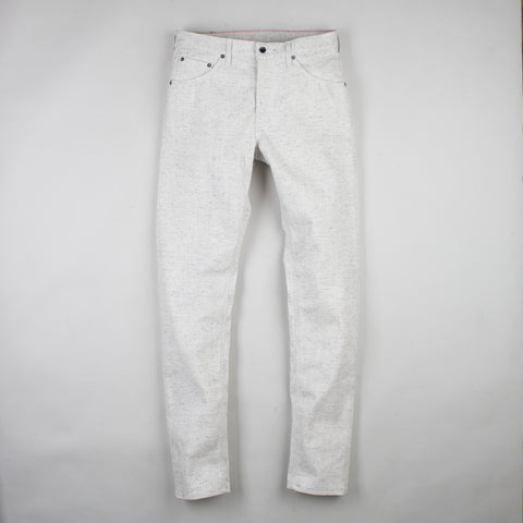 angle: natural heather | Raleigh Denim Workshop Graham work taper fit jeans in white, front flat view