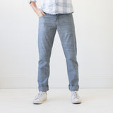 angle hover: napoli  Raleigh Denim workshop Jones thin fit jeans in napoli blue.