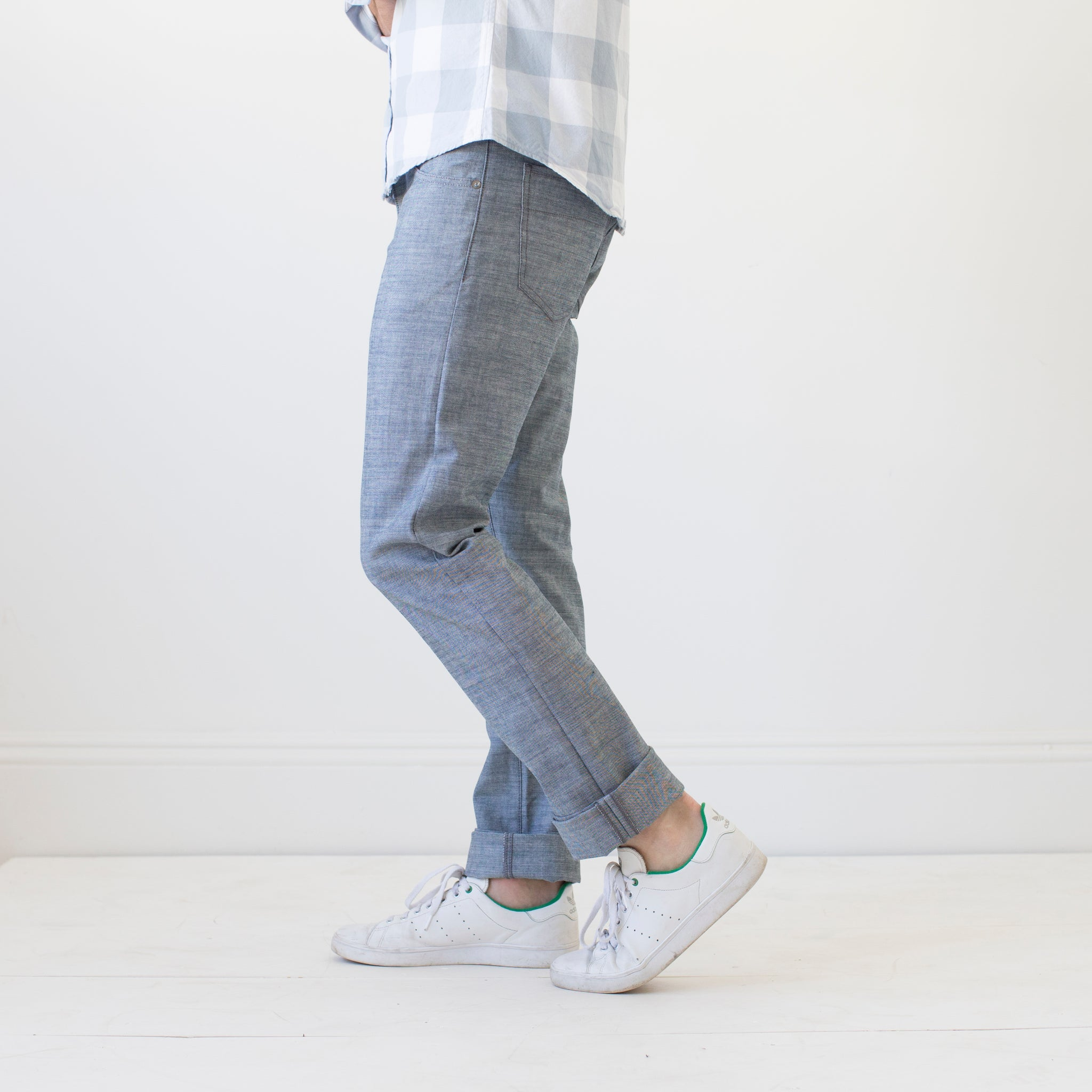 angle: napoli  Raleigh Denim workshop Jones thin fit jeans in napoli blue.