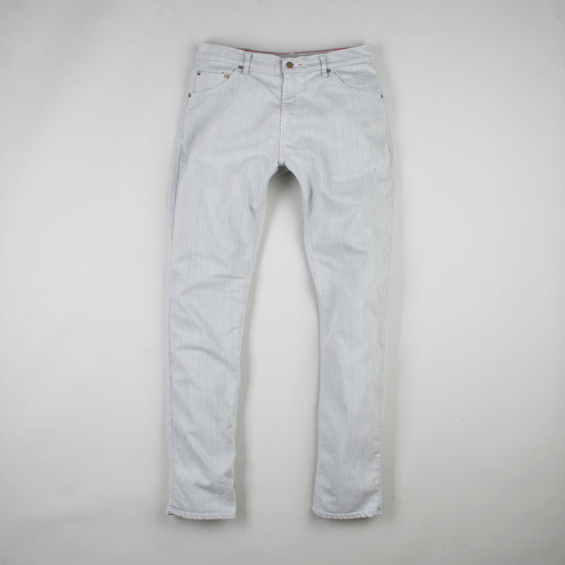 angle: mercury  Raleigh Denim Workshop Martin thin taper fit stretch pants in white, front flat view