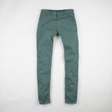 angle: hemlock  Raleigh Denim Workshop Martin thin taper fit stretch pants in green, front flat view
