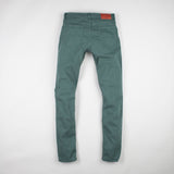 angle: hemlock  Raleigh Denim Workshop Martin thin taper fit stretch pants in green, back flat view
