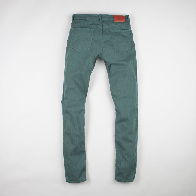 angle: hemlock  Raleigh Denim Workshop Alexander work fit stretch pants in green, back flat view