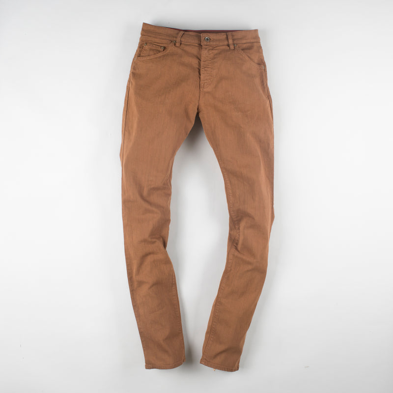 angle: whiskey  Raleigh Denim Workshop Martin thin taper fit stretch pants in brown, front flat view