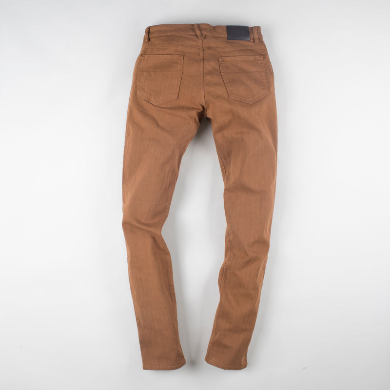 angle: whiskey  Raleigh Denim Workshop Martin thin taper fit stretch pants in brown, back flat view