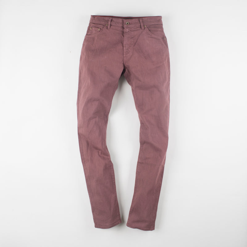 angle: russet  Raleigh Denim Workshop Martin thin taper fit stretch pants in reddish-brown, front flat view