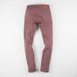 angle: russet  Raleigh Denim Workshop Martin thin taper fit stretch pants in reddish-brown, back flat view