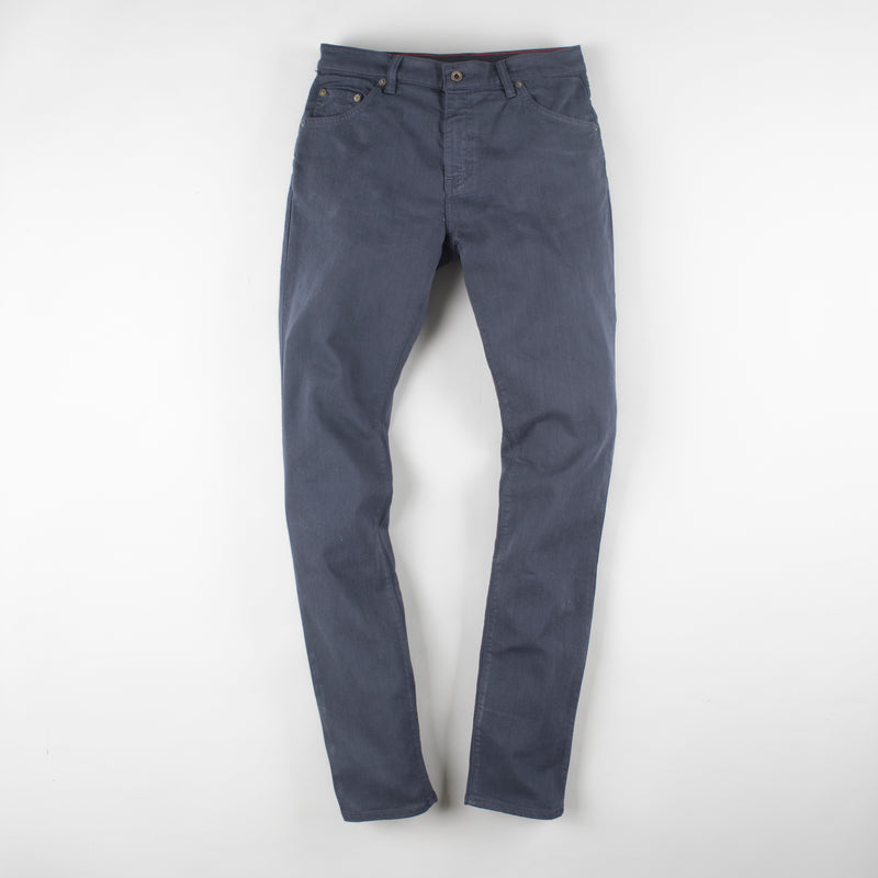angle: iron blue  Raleigh Denim Workshop Alexander work fit stretch pants in dark blue, front flat view