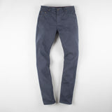 angle: iron blue  Raleigh Denim Workshop Martin thin taper fit stretch pants in dark blue, front flat view