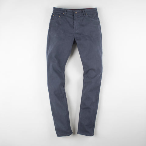 angle: iron blue | Raleigh Denim Workshop Martin thin taper fit stretch pants in dark blue, front flat view