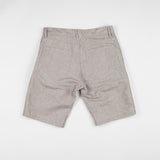 angle: flax  Raleigh Denim Workshop Jones thin fit shorts in tan (flax), back view