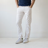 angle hover: cloud grey  Raleigh Denim Workshop Jones thin fit brushed twill men's pants in cloud grey.