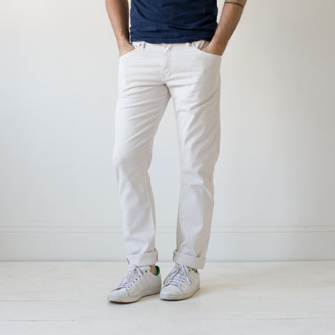 angle: cloud grey | Raleigh Denim Workshop Jones thin fit brushed twill men's pants in cloud grey.