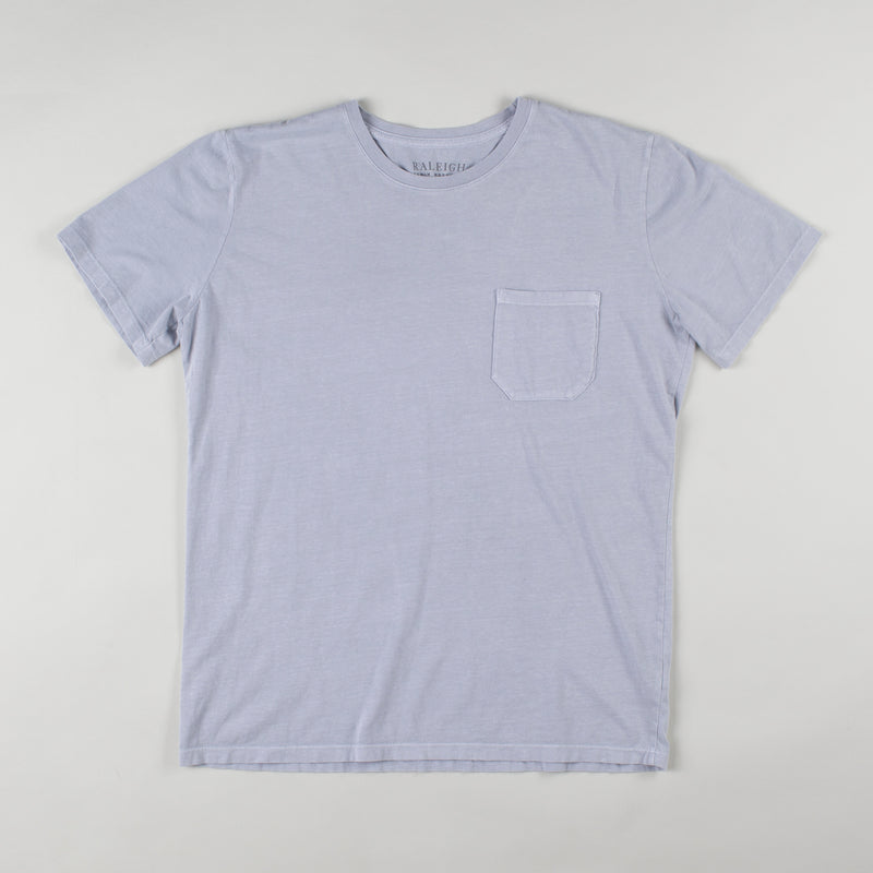 angle hover: grey  Raleigh Denim Workshop cotton/modal pocket crew neck tee in gray, front flat view