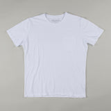 angle hover: white  Raleigh Denim Workshop cotton/modal pocket crew neck tee in white, front flat view