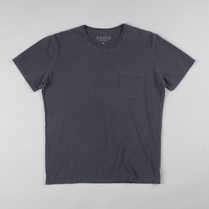 angle hover: charcoal  Raleigh Denim Workshop cotton/modal pocket crew neck tee in charcoal, front flat view
