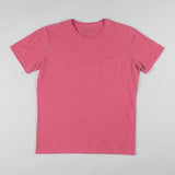 angle hover: red  Raleigh Denim Workshop cotton/modal pocket crew neck tee in red, front flat view
