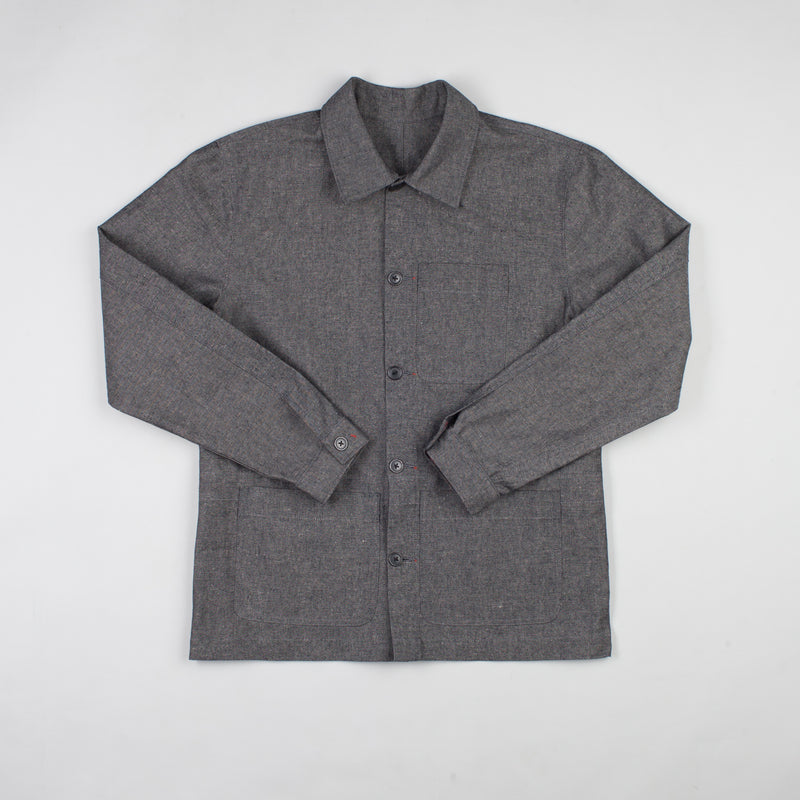 angle hover: basalt  Raleigh Denim Workshop chore coat in gray, front flat view