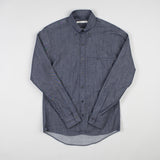 angle hover: denim  Raleigh Denim Workshop Welt-Pocket Button-up men's shirt in denim, front flat view