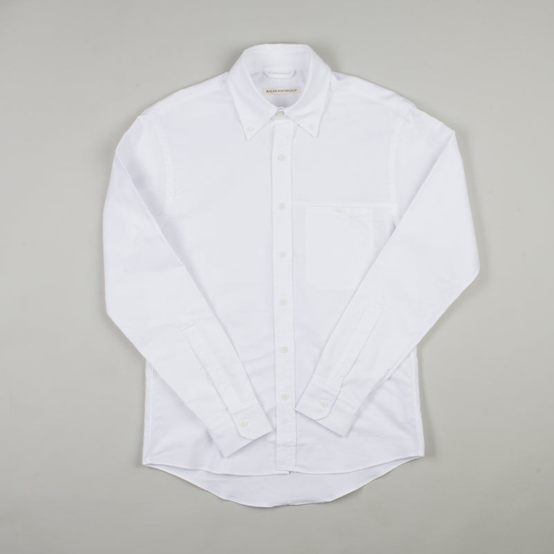 angle hover: white  Raleigh Denim Workshop Welt-pocket Button-up in white, front flat view