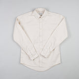 angle hover: ivory twill  Raleigh Denim Workshop men's welt-pocket button-up shirt in white ivory twill.