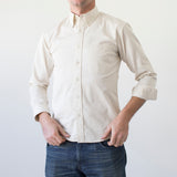 angle: ivory twill  Raleigh Denim Workshop men's welt-pocket button-up shirt in white ivory twill.