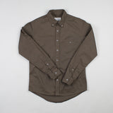 angle hover: olive twill  Raleigh Denim Workshop men's welt-pocket button-up shirt in dark green olive twill.