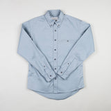 angle hover: fog twill  Raleigh Denim Workshop men's welt-pocket button-up shirt in light blue fog twill.