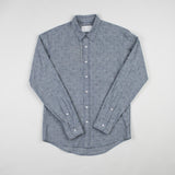 angle hover: crosshatch  Raleigh Denim Workshop blue crosshatch men's classic button-up shirt.
