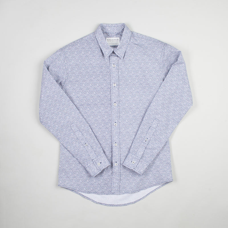 angle hover: tiny daisy  Raleigh Denim Workshop men's classic button-up shirt in blue print, front flat view