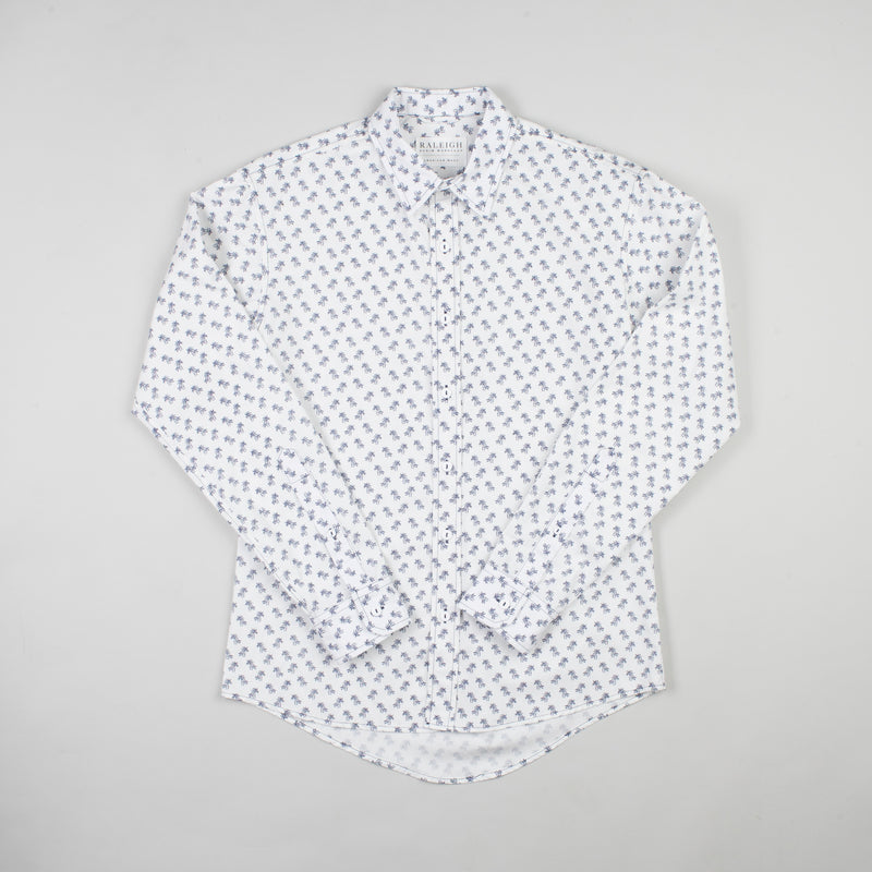 angle hover: palm island  Raleigh Denim Workshop men's Classic Button-Up shirt in white multi-color, front flat view