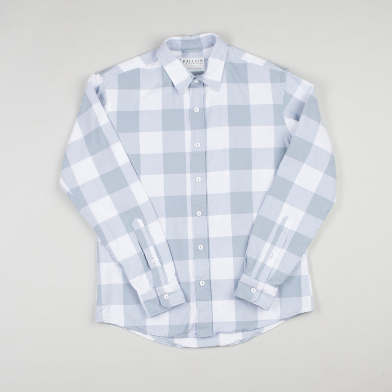 angle hover: gin picnic  Raleigh Denim Workshop classic button-up men's shirt in blue and white plaid gin picnic.