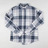 angle hover: specter blue plaid  Raleigh Denim Workshop Classic Button-up Men's Shirt in blue plaid, front flat view