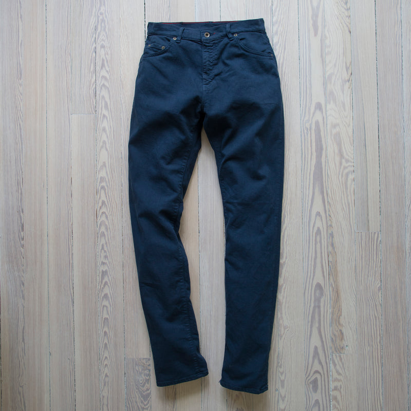angle: space blue  Raleigh Denim Workshop Martin thin taper fit stretch pants in navy space blue, front