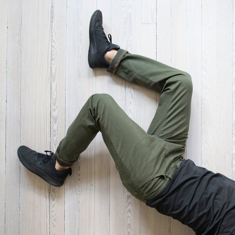 angle hover: dark moss  A Raleigh Denim Workshop Alexander Stretch pants in dark moss