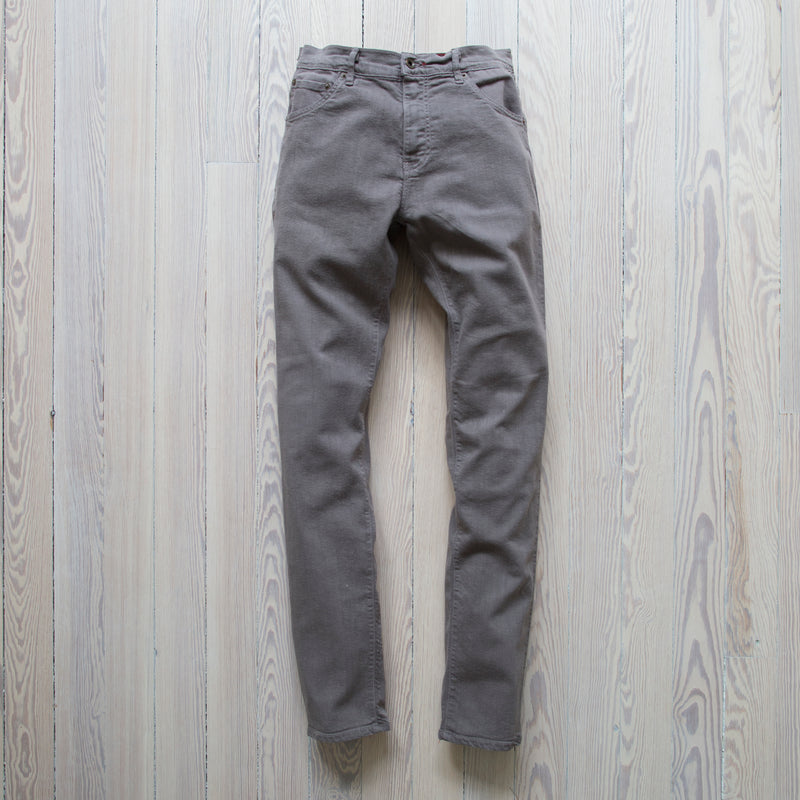 angle: stainless  Raleigh Denim Workshop Martin thin taper fit stretch pants in grey stainless, front