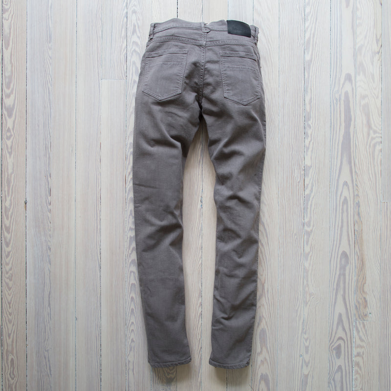 angle: stainless  Raleigh Denim Workshop Martin thin taper fit stretch pants in grey stainless, back