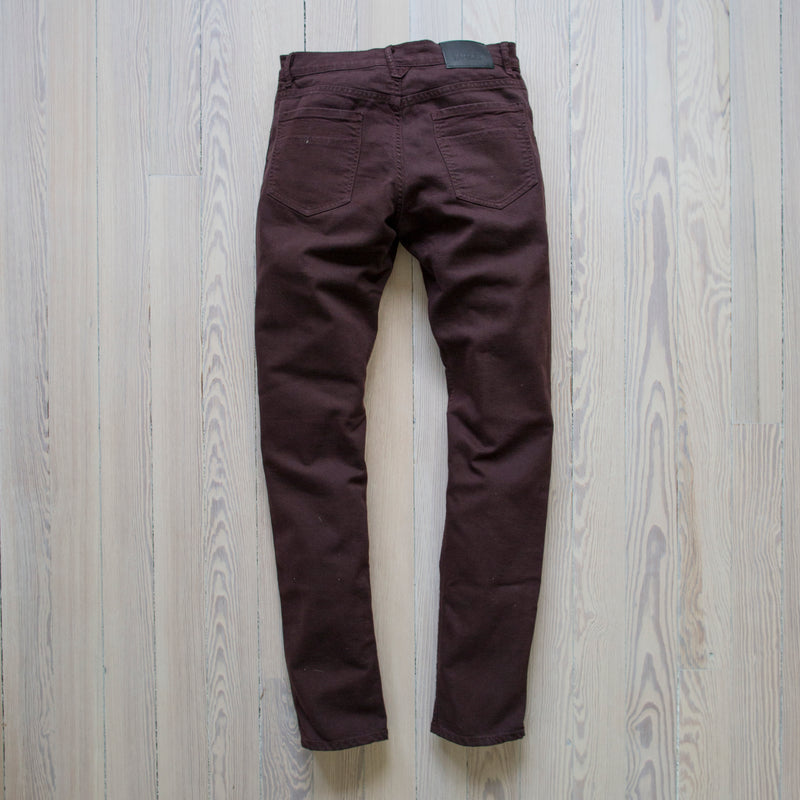 angle: currant  Raleigh Denim Workshop flat martin stretch pants currant back