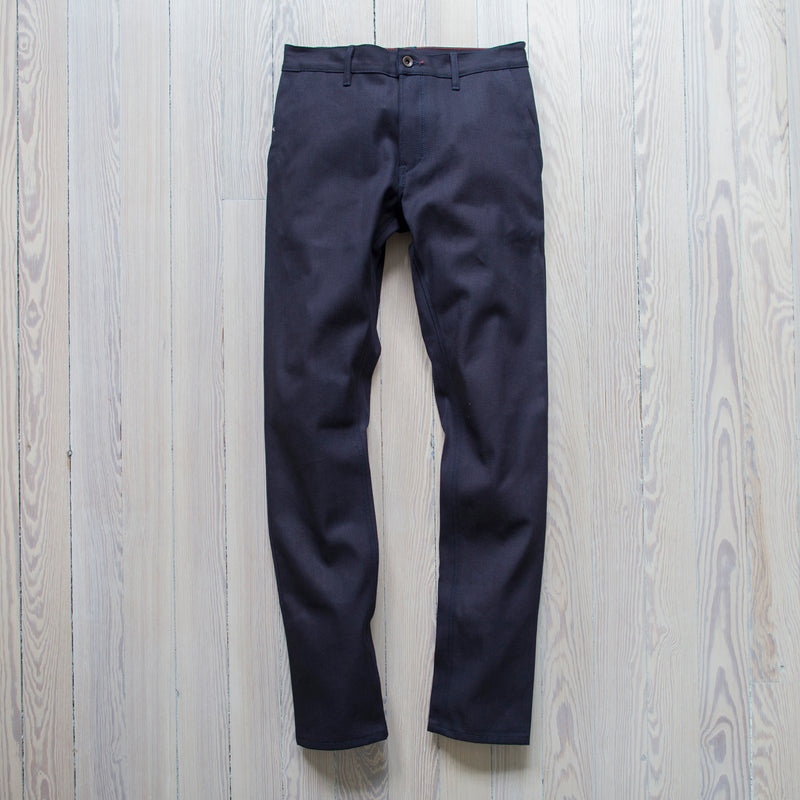 angle : stacked selvage  A Raleigh Denim Workshop Martin pants in stacked selvage